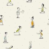 Tekening van het mensen de naadloze patroon Stock Afbeeldingen