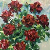 Tekening van het rode boeket van de rozenbloem Royalty-vrije Stock Foto