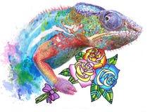 Tekening van kameleon met rozen royalty-vrije illustratie