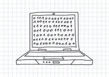 Tekening van laptop Stock Afbeeldingen