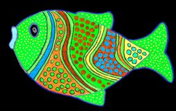 Tekening van leuk weinig vis stock afbeeldingen