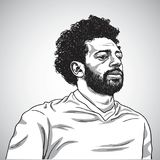 Tekening van Mo Salah Vector Portrait Cartoon Caricature-Illustratie 5 juni, 2018 royalty-vrije stock foto