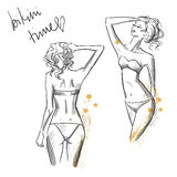 Tekening van mooie meisjes die bikini dragen Royalty-vrije Stock Afbeeldingen