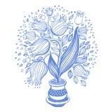 Tekening van mooie tulpen in een pot Stock Afbeelding