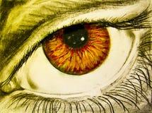 Tekening van oog met oranje leerling Royalty-vrije Stock Foto