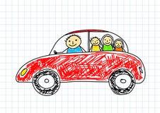 Tekening van rode auto Royalty-vrije Stock Afbeelding