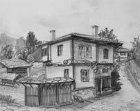 Tekening van Traditioneel Oud Bulgaars Huis Stock Afbeelding