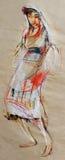 Tekening van traditionele Bulgaarse blootvoetse jonge dame Stock Afbeelding