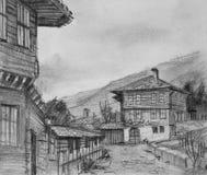 Tekening van Traditionele Oude Huizen in Kotel Stock Foto