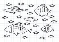 Tekening van vissen Stock Foto's