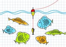 Tekening van visserij Royalty-vrije Stock Afbeeldingen