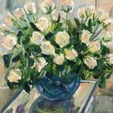 Tekening van witte rozen in blauwe ronde vaas Royalty-vrije Stock Foto's