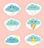 Tekening van wolken in de vorm van stickers Reeks leuke beeldverhaalwolken royalty-vrije illustratie
