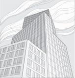 Tekening van wolkenkrabber Stock Foto