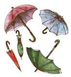 Tekening, waterverfreeks van paraplu's Paraplu's van een regen, wisselmarkt Stock Illustratie