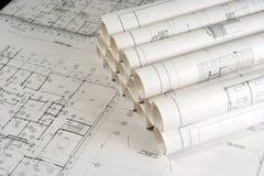 Tekeningen 2 van de techniek en van de Architectuur Stock Fotografie