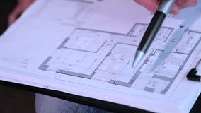 Tekeningen en lay-out van de de bouwclose-up stock videobeelden