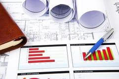 Tekeningen, grafieken en dagelijks, bedrijfscollage Stock Afbeeldingen