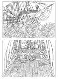 Tekeningen met varende schepen vector illustratie