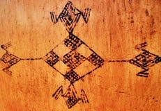 Tekeningen op aardewerk maharka - Algerije Royalty-vrije Stock Foto's