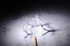 Tekeningen van de bouw stock foto