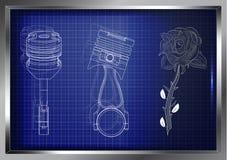 Tekeningen van twee zuigers en een bloem op een blauwe achtergrond Stock Fotografie
