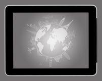 tekenings reis rond de wereld op tabletPC Stock Afbeeldingen