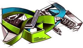 Tekeningsgraffiti op de motorfietsstijl geïllustreerd Royalty-vrije Stock Foto
