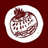 Tekeningshand het fantastische fruit Granaatillustratie Stock Foto's