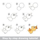 Tekeningsleerprogramma Hoe te om een Vogel te trekken Stock Afbeelding