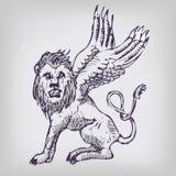 Tekeningsleeuw met vleugels Royalty-vrije Stock Afbeelding