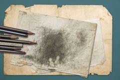 Tekeningspotloden en grafiet stock afbeelding