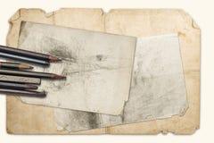 Tekeningspotloden en grafiet stock fotografie
