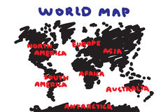 Tekeningsstijl uit de vrije hand van wereldkaart en continent royalty-vrije illustratie