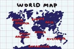 Tekeningsstijl uit de vrije hand van wereldkaart en continent op netdocument stock illustratie