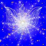 Tekeningsvleugels met een hart op blauwe achtergrond stock illustratie