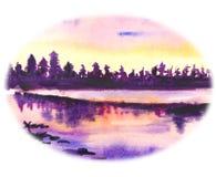 Tekeningswaterverf Bos in de stralen van sunsets stock illustratie