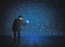 Tekeningszakenman met de achtergrond van het economieproject Royalty-vrije Stock Afbeelding