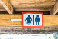 Tekens aan het toilet in bijlage aan de bovenkant van het plafond stock afbeeldingen
