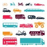 Tekens die verschillende middelen van vervoer voorstellen stock illustratie