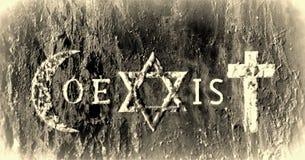Tekens en godsdienstige symbolen van de Coexist beweging vector illustratie
