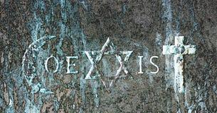 Tekens en godsdienstige symbolen van de Coexist beweging royalty-vrije illustratie