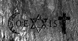 Tekens en godsdienstige symbolen van de Coexist beweging stock illustratie