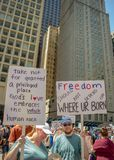 Tekens en Menigte in Chicago Maart/Protest stock foto