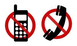 Tekens: Geen telefoon, tevreden! Stock Afbeelding