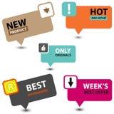 Tekens of Markeringen van nieuw Product de de Beste Prijzen Royalty-vrije Stock Afbeelding