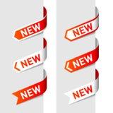 Tekens Nieuw op de pijl. Vector. Royalty-vrije Stock Afbeeldingen