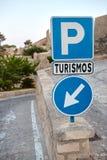 Tekens op de weg in Alicante, Santa Barbara, Spanje Royalty-vrije Stock Afbeeldingen