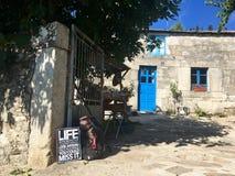 Tekens op huizen voor pelgrims van camino DE Santiago Stock Foto's