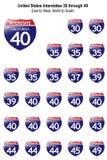 Tekens Tusen staten van Verenigde Staten I-30 tot I-49 stock illustratie